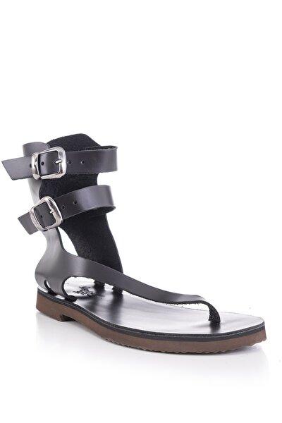 El Yapımı Hakiki Deri Siyah Kadın Sandalet-bodrum Sandaleti