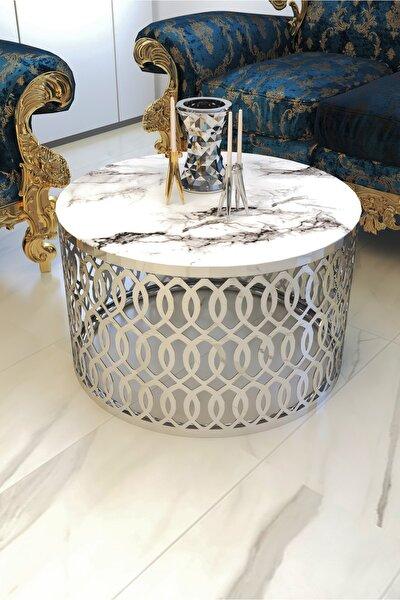 Beyaz Mermer Desen Camlı Lazer Kesim Lüx Gümüş Orta Sehpa