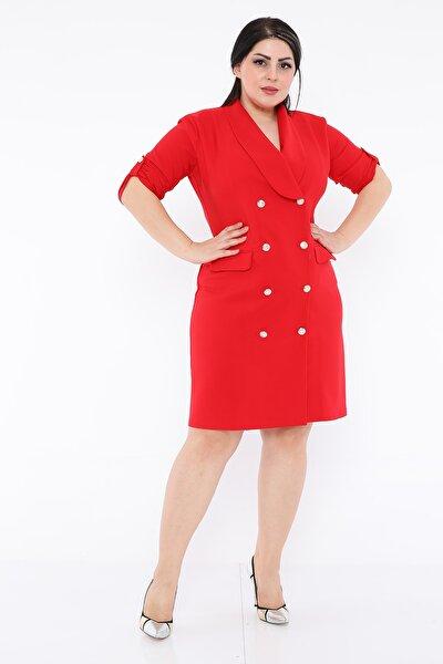 Kruvaze Yaka Ön Kısmı Düğme Detaylı Midi Ofis Elbise