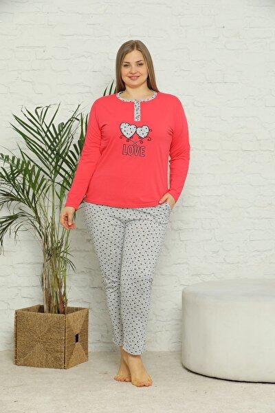 Kadın Süprem Uzun Kollu Cepli Ve Yaka Düğmeli Battal Beden Pijama Takım 01779