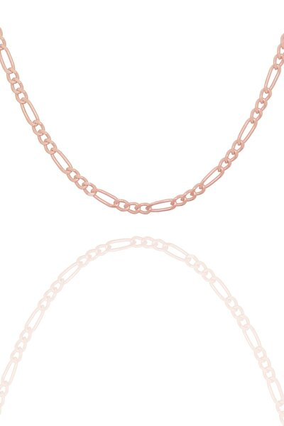 Figaro Model Rose Kaplama Gümüş Zincir 60 Mm Kalınlık