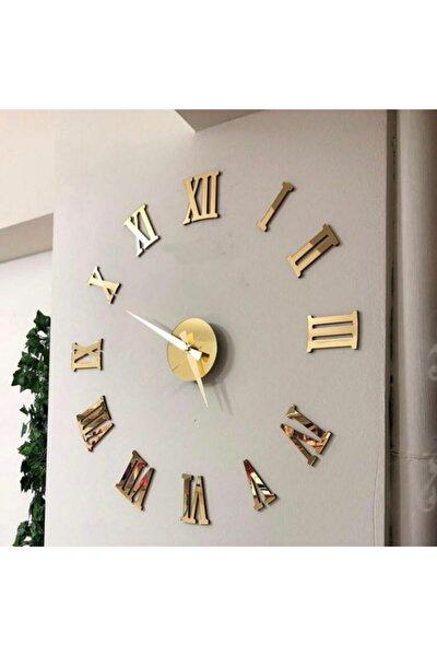 Pleksi Göbek Duvar Saati Büyük 3d Romen Rakamlı Duvar Saati (gold)