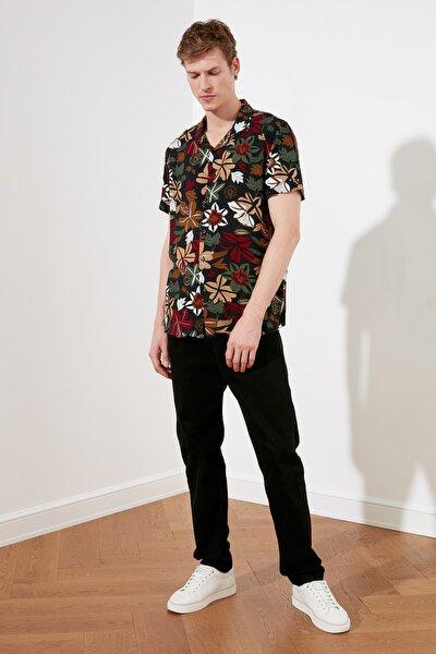 Çok Renkli Erkek Regular Fit Apaş Yaka Çiçekli Gömlek TMNSS21GO0489