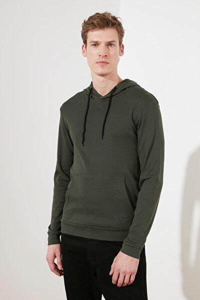 Haki Erkek Regular Fit Uzun Kollu Kapüşonlu T-Shirt TMNAW21TS0228