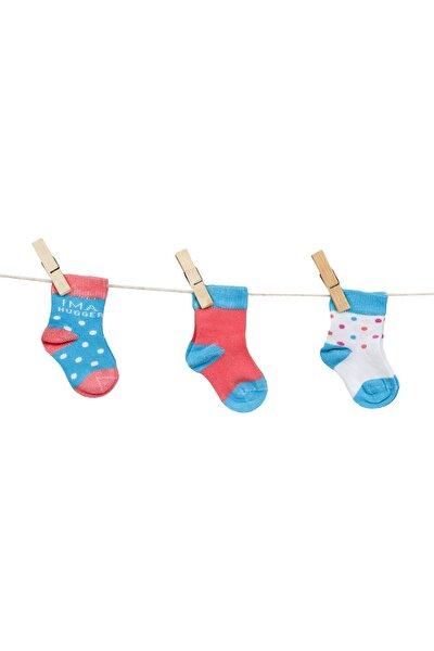 C35567 Unisex Bebek Puan Desenli Dikişsiz 3'lü Çorap
