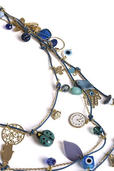 Kadın Mavi Ve Altın Renkli Üç Katlı Çok Figürlü Boncuk Kolyemavi