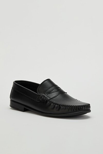 Erkek Siyah Loafer Ayakkabı Mglion01