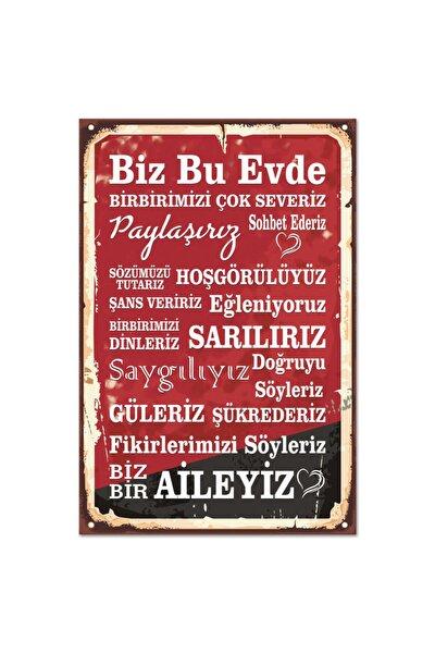 Ev Kuralları Retro Vintage Ahşap Poster Tablo