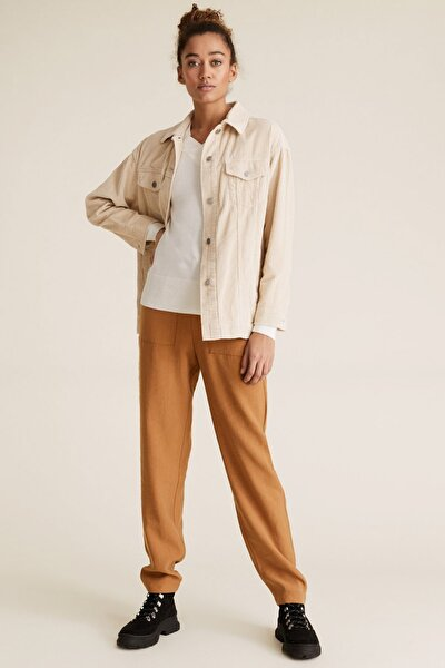 Kadın Kahverengi Tencel™ Tapered Ankle Grazer Pantolon T57006198