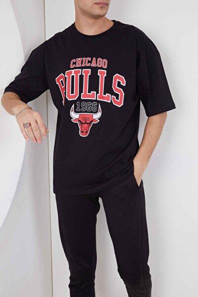 Oversize Baskılı Siyah Tshirt