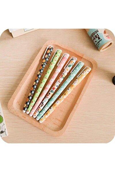 Çiçek Tasarımlı Renkli Kalem Seti 6 Lı