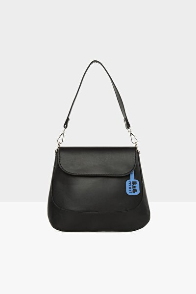 Siyah Kadın Kapaklı Oval Kalıp Parçalı Çanta M000005652