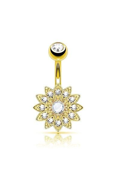 Altın Renk Cerrahi Çelik Paslanmaz Lotus Çiçeği Taşlı Belly Button Göbek Piercing Gold Color