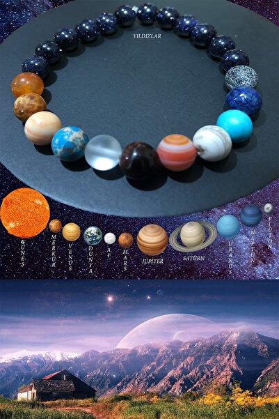 Sıralı Gezegenler Güneş Sistemi Doğal Taş Unisex Bileklik