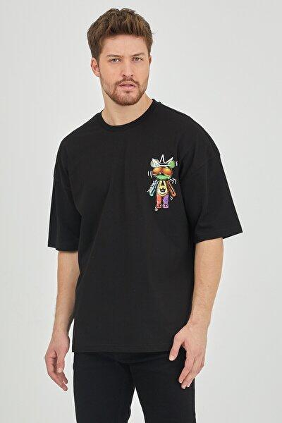 Siyah Önür & Arkası Baskılı Oversize T-shirt 1kxe1-44624-02