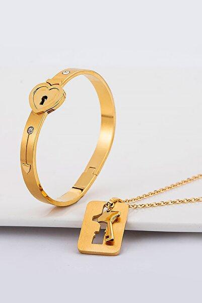 Kadın Altın Anahtarlı Kelepçe Çelik Kolye ve Bileklik Set ch79sr