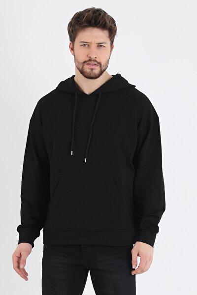 Erkek 2 Iplik Oversize Comfort Kesim Basic Kapşonlu Sweat Shirt
