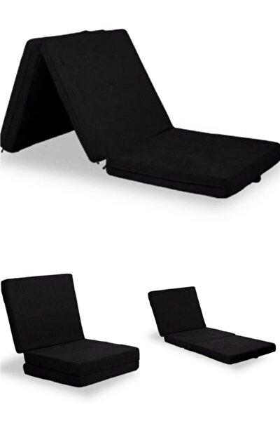 Xolo Katlanır Taşınabilir Yer Yatağı Portatif Puf Ve Yatak Siyah