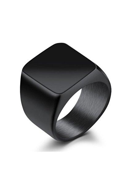 Parlak Siyah Kadın Erkek Çelik Yüzük dc52