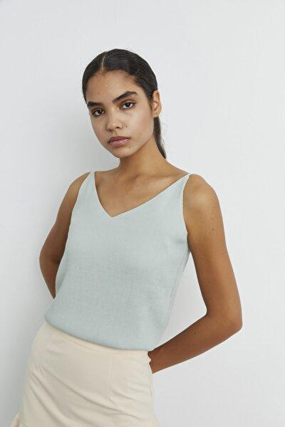 Kadın Mint Ayarlamalı Askılı Bluz