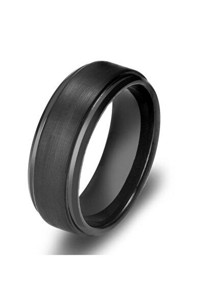 Erkek Mat Siyah Fırçalanmış Tungsten Yüzük dm75