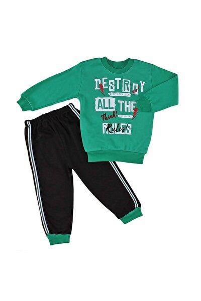 Erkek Çocuk Eşofman Takımı Destroy Baskılı - Yeşil - 6-9 Aylık