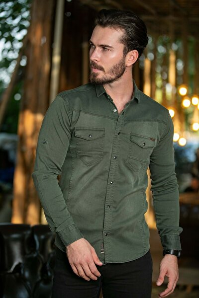 Erkek Haki Cepli Likralı Kot Gömlek N6012