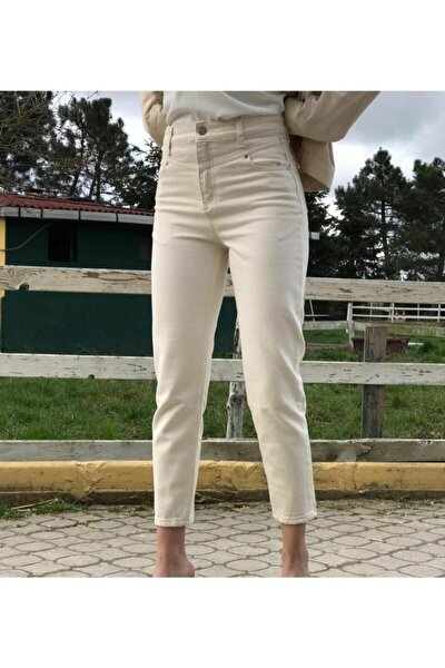 Kadın Krem Mom Jeans