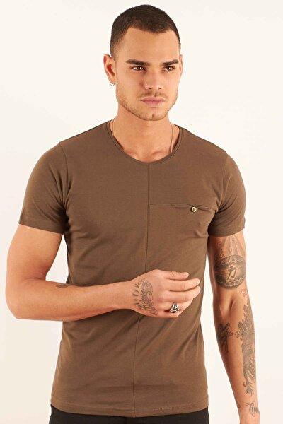 Erkek Haki Kısa Kollu T-shirt