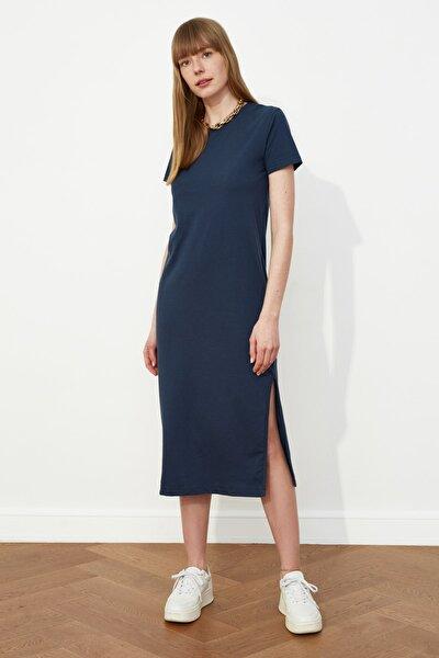 Lacivert Yırtmaç Detaylı Örme Elbise TWOSS21EL0507