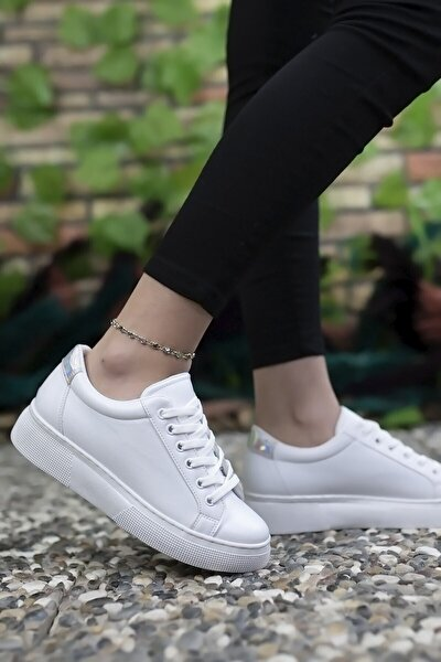 Kadın Beyaz Hologram Detaylı Sneaker 0012205