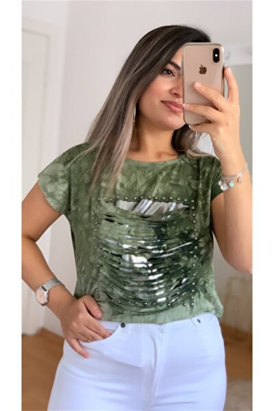 Kadın Yeşil Tasarım T-shirt