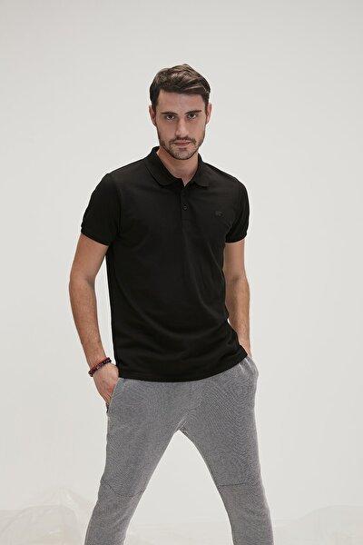 Erkek Siyah Basic Pique Polo Yaka Tişört