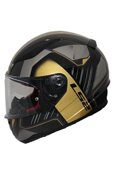 Erkek Siyah Sarı Rapıd Medal Kapalı Motosiklet Kaskı