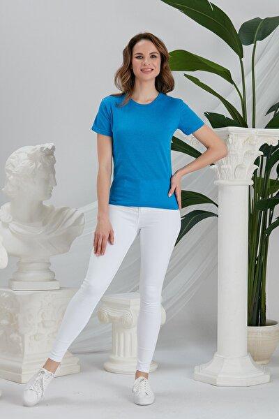 Kadın Mavi Basic Örme T-shirt