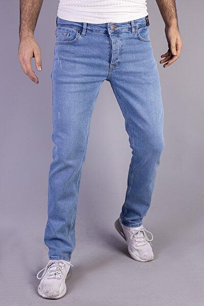 Erkek Açık Mavi Slim Fit Likralı Normal Bel Düz Boru Paça Kot Pantolon 31525