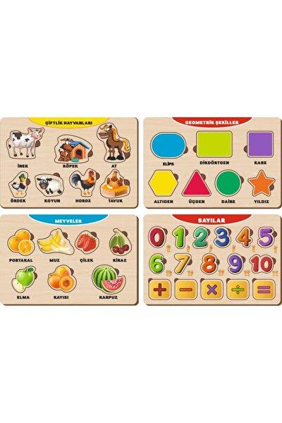 4 Adet Ahşap Bul Tak Eğitici Yapboz Puzzle Seti 12