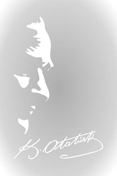 Beyaz Kemal Atatürk Silüeti ve İmza Oto SAraba Sticker 30 cm
