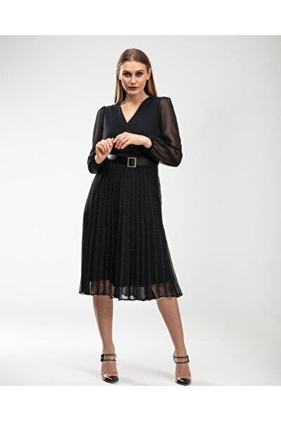 Kadın Kuruvaze Beli Lastikli Pilosoley Elbise