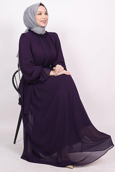 Yakası Drapeli Şifon Tesettür Elbise