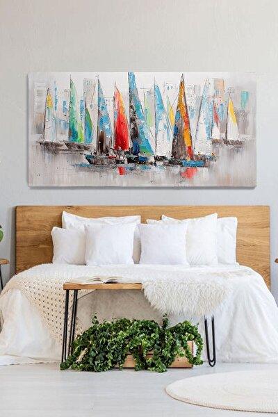 Renkli Yelkenliler Kanvas Tablo 50x100 cm
