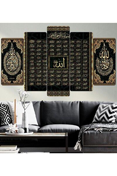 Esma-ül Hüsna Allah 99 Ismi-parçalı Ahşap Duvar Tablo Seti
