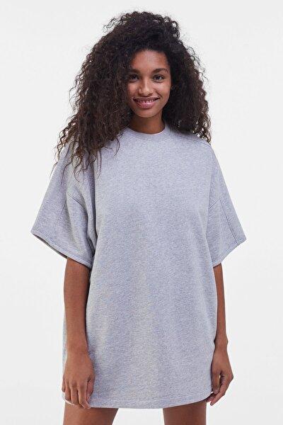 Kadın Gri Kısa Kollu Elbise 00474700