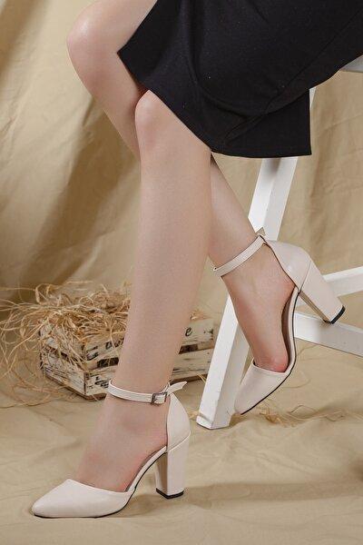 Kadın Krem-cilt Bilekten Bantlı Karnıyarık Yüksek Topuklu Ayakkabı...