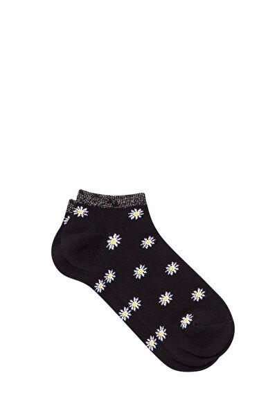 Kadın Papatya Desenli Siyah Patik Çorap 198247-900