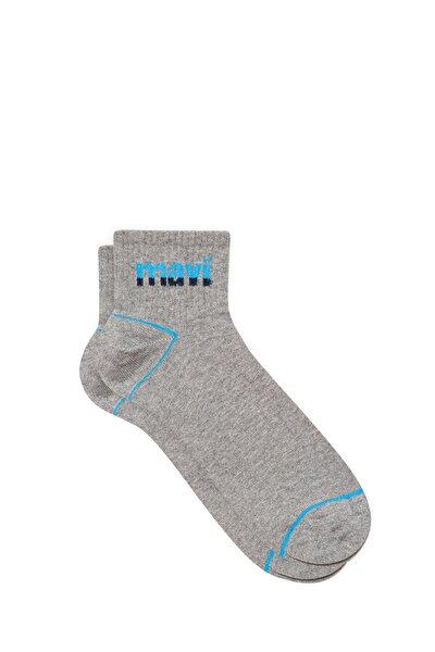 Erkek Logo Baskılı Gri Soket Çorap 092523-33396