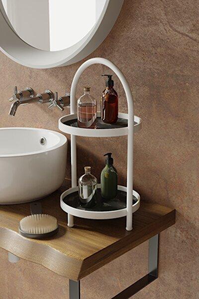 Iki Katlı Siyah Mermer Desenli Mutfak Kozmetik Takı Banyo Düzenleyici Organizer 41 Cm