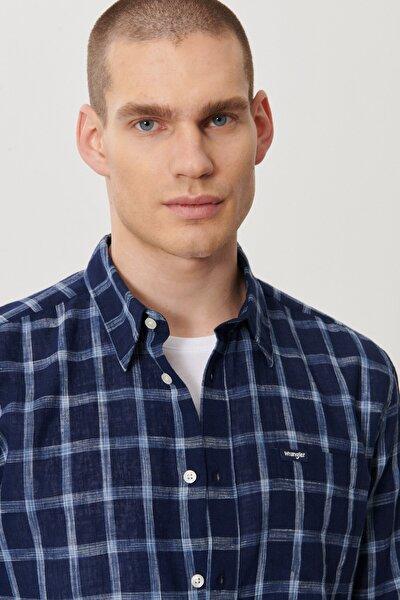 Erkek Koyu Mavi Regular Fit Düğmeli Yaka Uzun Kol Gömlek