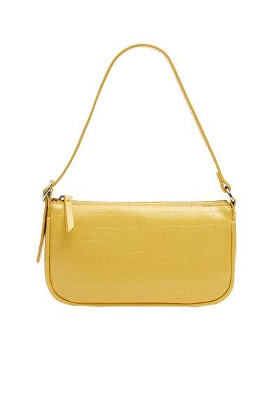 Kadın Sarı Timsah Derisi Görünümlü Mini Çapraz Askılı Çanta