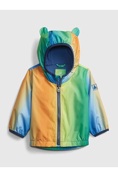 Erkek Bebek Renkli Kapüşon Detaylı Yağmurluk
